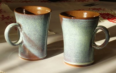 blue cups with handle